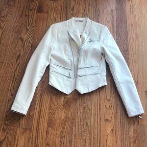 JouJou Cream Pleather Jacket Size Medium